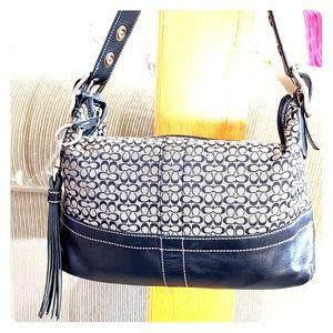 💕Coach black gray medium jacquard hobo bag 💕